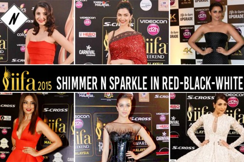 IIFA 2015: Shimmer n sparkle  in red-black-white