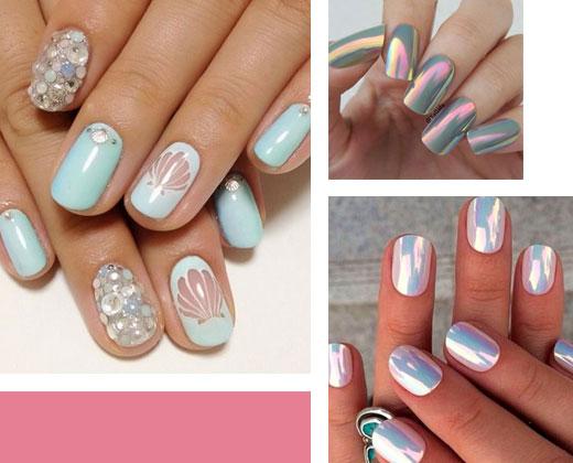 Mermaid makeup Looks – Metallic Nails