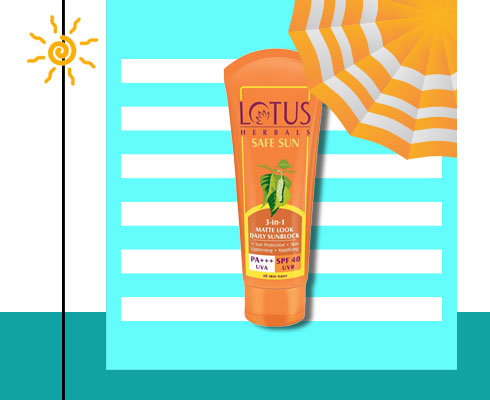 sun cream for oily skin- Lotus Herbals Safe Sun 3-In-1 Matte-Look Daily Sun Block Pa+++ Spf- 40