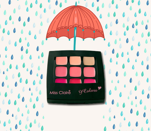 Waterproof Cosmetics- Miss Claire 9 Colors Lip & Cheek Palette – 1
