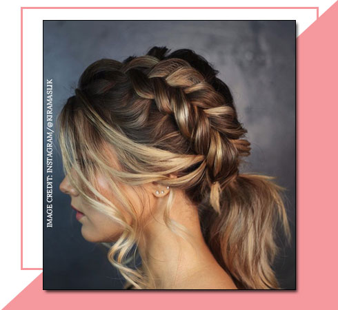 Short Hairstyles for Girls – Crown Dutch Braid With Ponytail