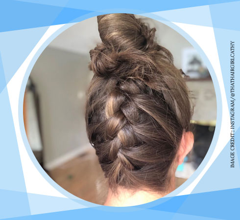 Hairstyles for girls with long hair – Braided top knot