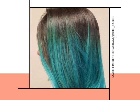 Teal blue hair color