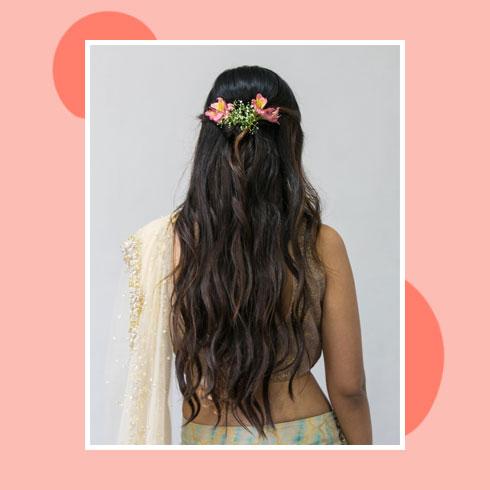 Reception Hairstyles for Lehenga – Half-Up Beach Waves
