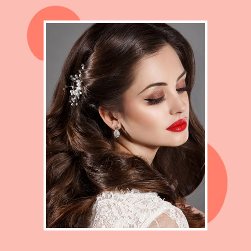 Reception Hairstyles for Gown– Romantic Waves with Side Twist