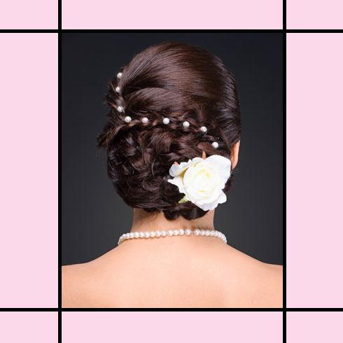 Indian Wedding Hairstyles – Pearl Accentuated Braid Bun