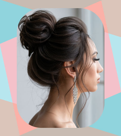 Hairstyles For Frizzy Hair- Messy Top Bun
