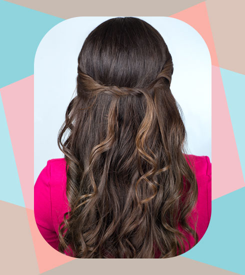 Hairstyles For Frizzy Hair- The Messy Half Twist