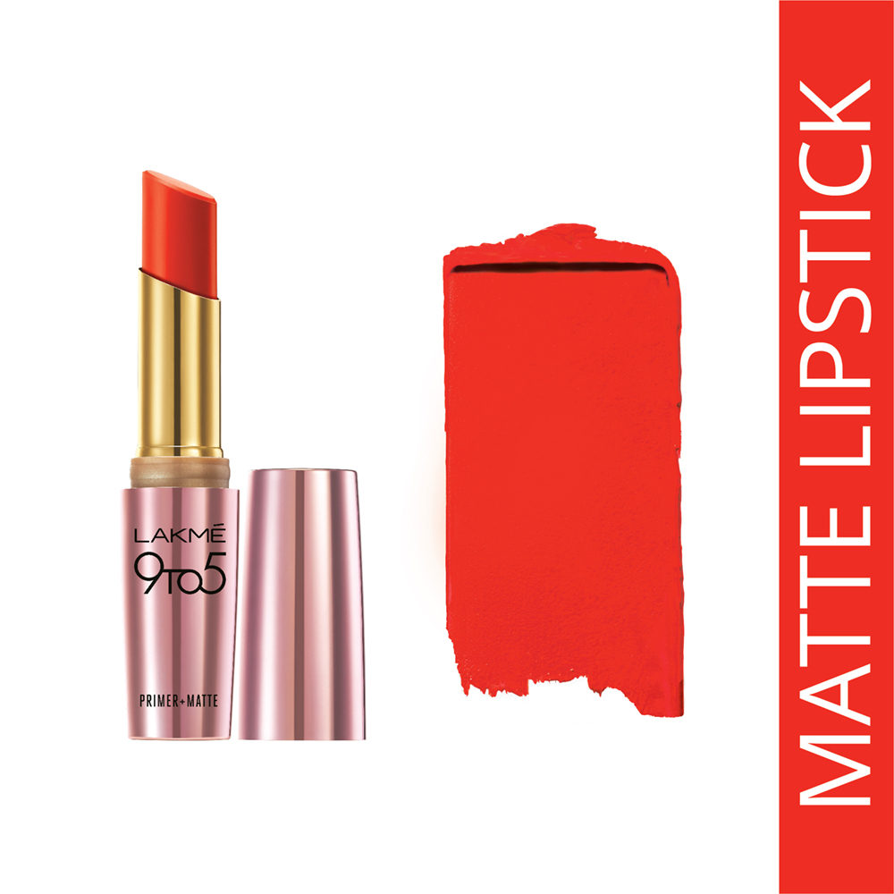 Lakme 9 to 5 Primer + Matte Lip Color - MR8 Orange Edge  available at Nykaa for Rs.480