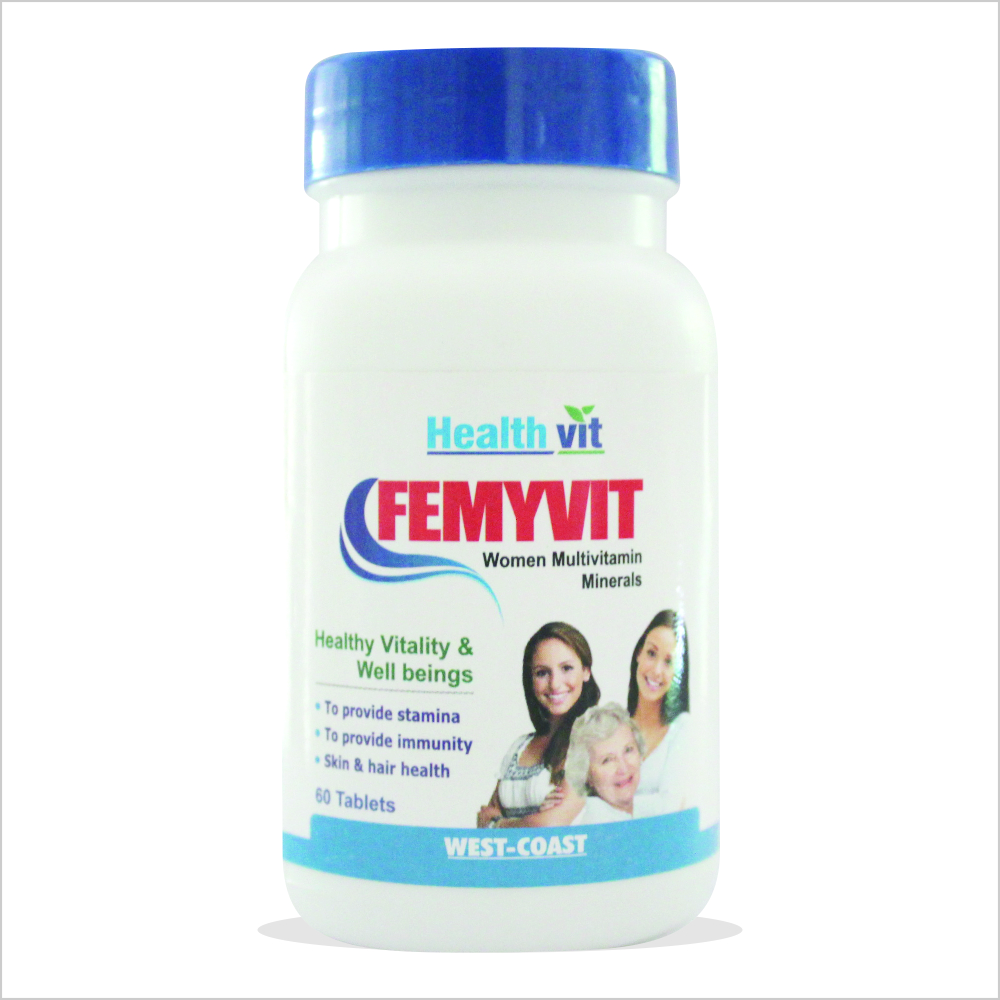 HealthVit Femyvit Women multivitamin Minerals (60 Tablets)  available at Nykaa for Rs.180