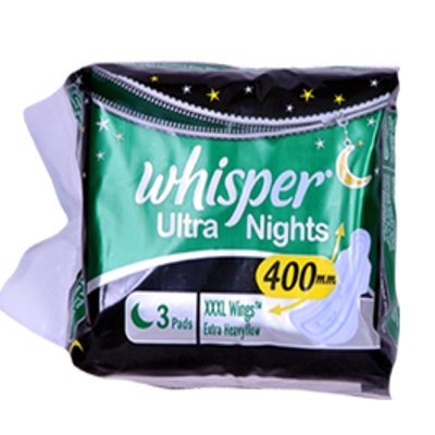 whisper Ultra  Overnight Sanitary Pads XXXL Wings Size 3 pc Pack  available at Nykaa for Rs.78