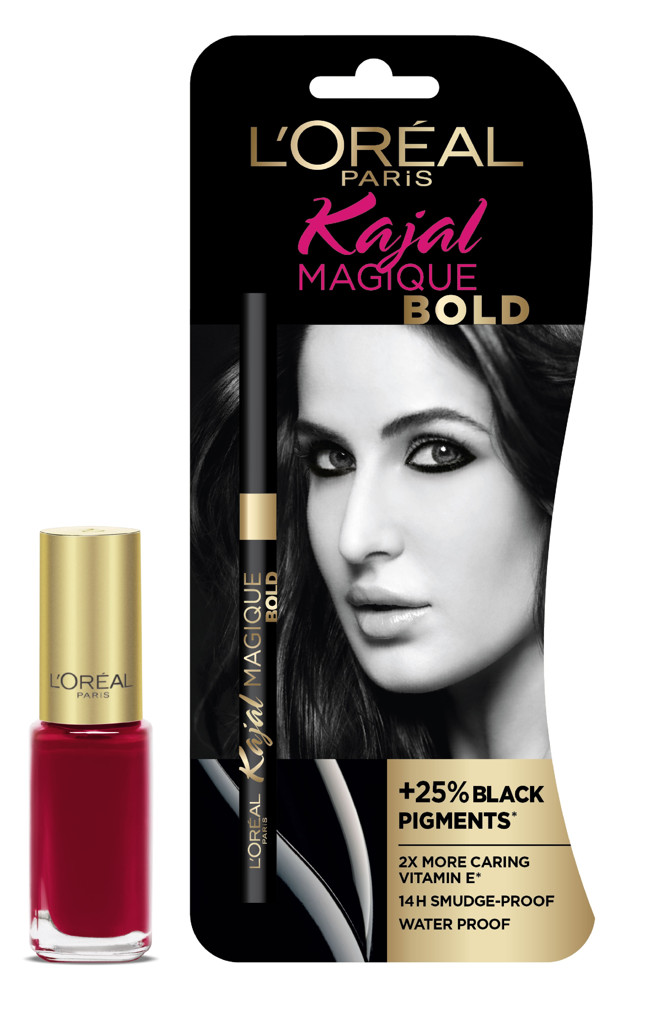 L'Oreal Paris Kajal Magique Bold + Color Riche Vernis Plum Liberty  available at Nykaa for Rs.500