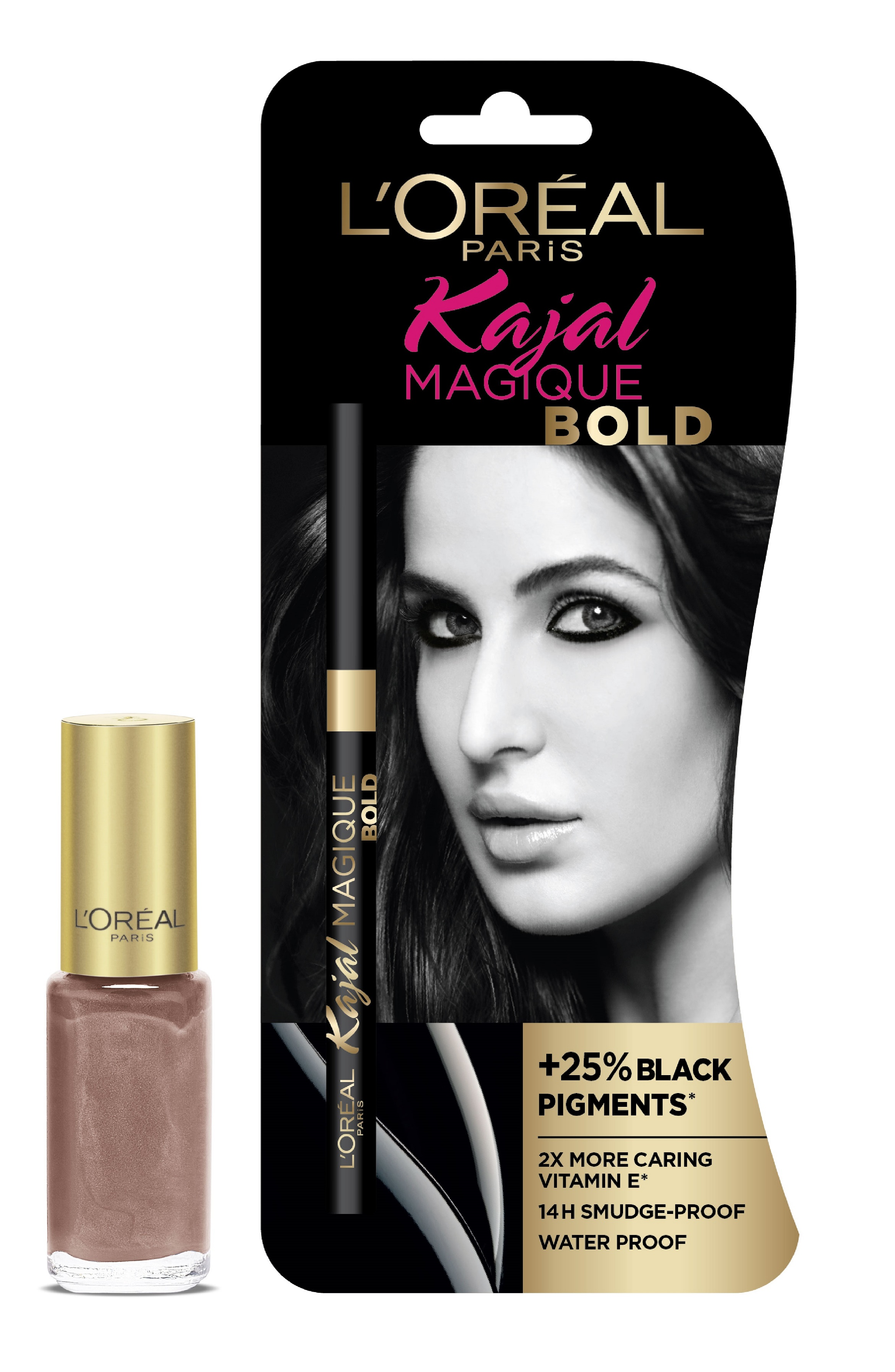 L'Oreal Paris Kajal Magique Bold + Color Riche Vernis Versailes Gold  available at Nykaa for Rs.500