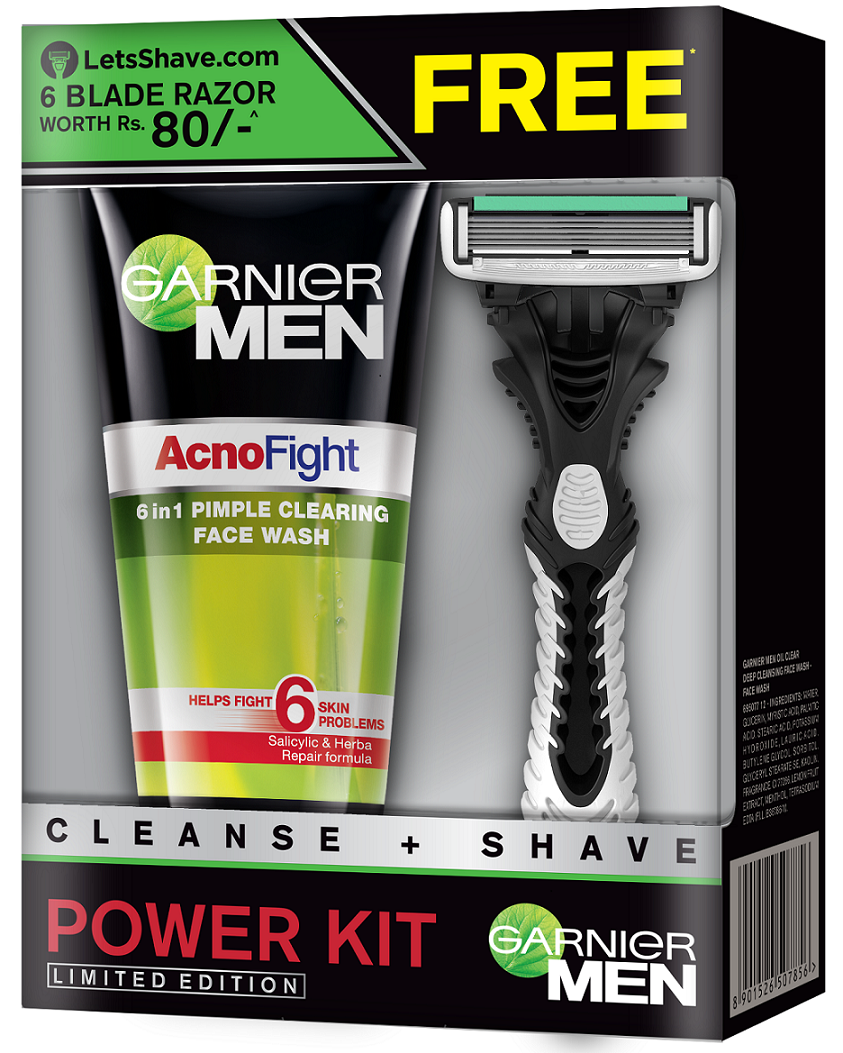 Garnier Men Acno Fight Face Wash + LetsShave Razor Free  available at Nykaa for Rs.185