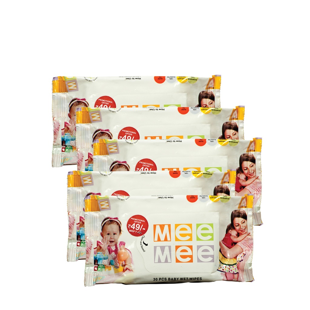 Mee Mee Caring Baby Wet Wipes with Aloe Vera - (30 pcs) (Pack of 5)  available at Nykaa for Rs.245