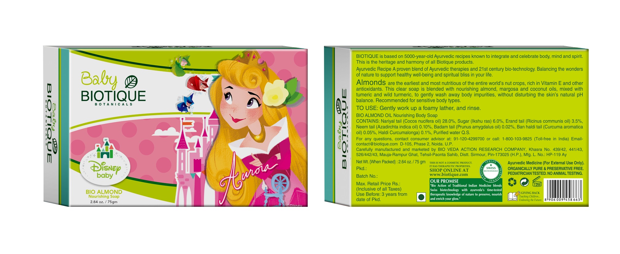 Biotique Disney Baby Girl Bio Almond Nourishing Soap  available at Nykaa for Rs.47