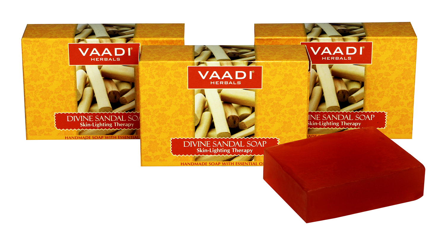 Vaadi Herbals Value Pack Of 3 Divine Sandal Soap With Saffron & Turmeric  available at Nykaa for Rs.120