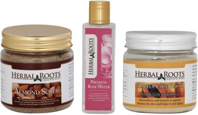 Herbal Roots Skin Whitening Kit For Dry Skin - Almond Scrub