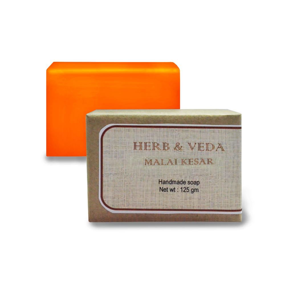 Herb & Veda Malai kesar Handmade Soap  available at Nykaa for Rs.80