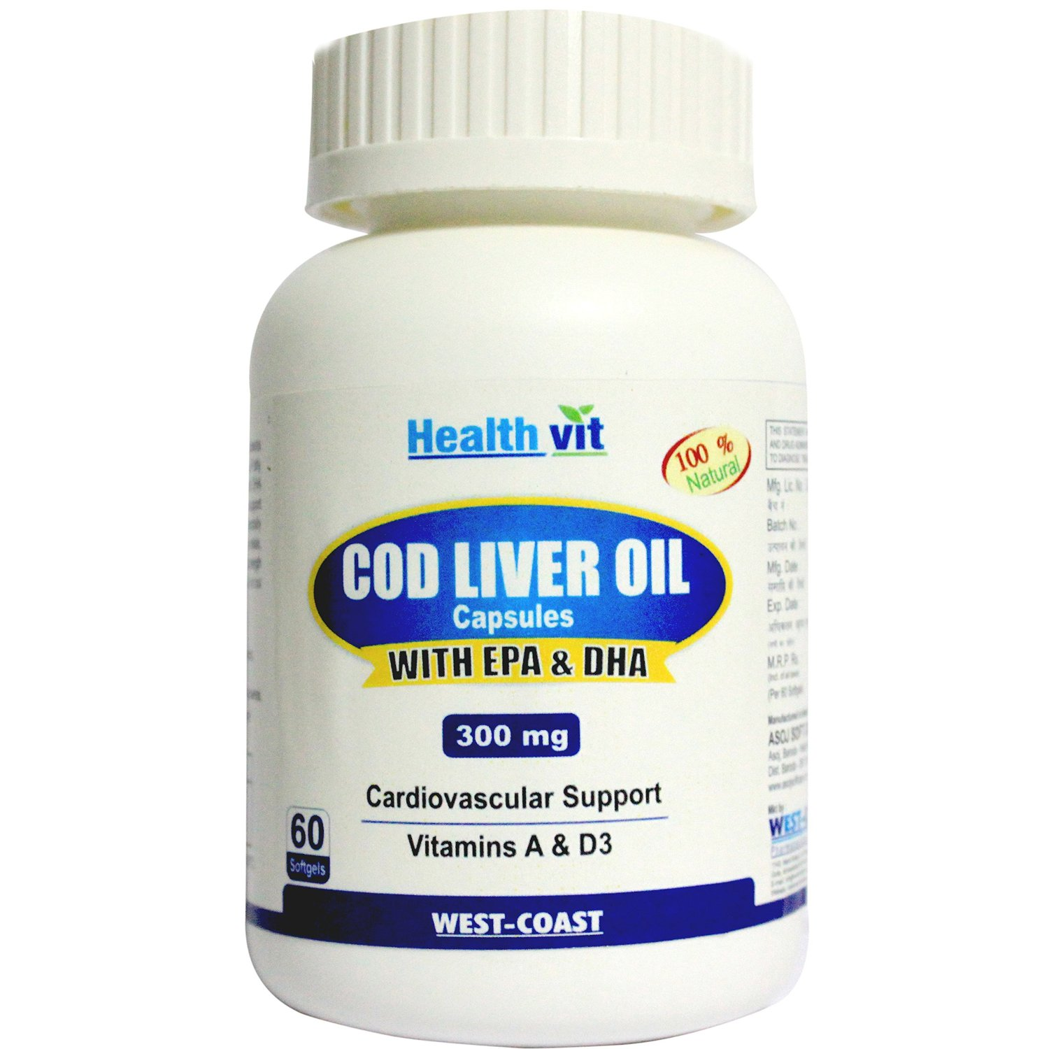 Healthvit Cod Liver Oil - 60 Softgel Capsules  available at Nykaa for Rs.390