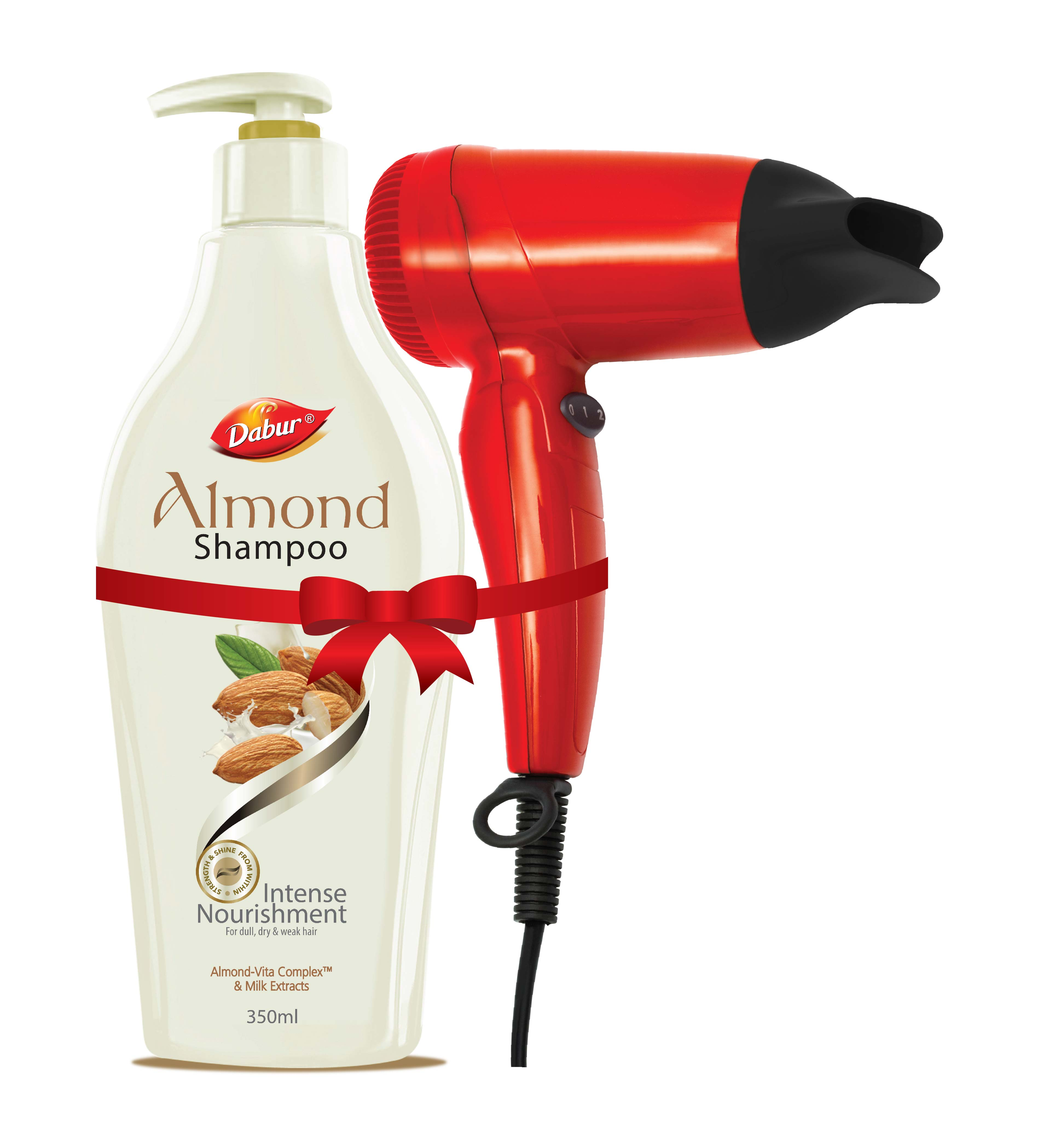 Dabur Almond Intense Nourishing Shampoo + Free Hair Dryer  available at Nykaa for Rs.255