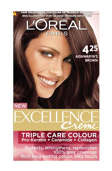 L'Oreal Paris Excellence Creme Hair Color - 4.25 Aishwarya'S Brown  available at Nykaa for Rs.480