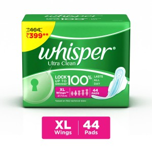 Buy Whisper Ultra Clean Xtra Large Wings Size 44 pc Pack (Off Rs.65) - Nykaa