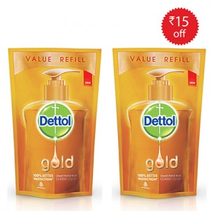 Buy Dettol Gold Classic Clean Hand Wash (Pack Of 2) With Rs.15 Off - Nykaa