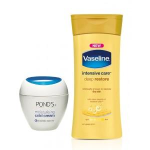 Buy Ponds Moisturising Cold Cream + Vaseline Intensive Care Deep Restore Body Lotion Free - Nykaa