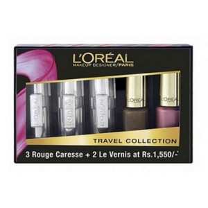 Buy L'Oreal Paris Rouge Caresse Lipstick + Color Riche Vernis Travel Collection - Coral - Nykaa