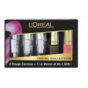 Buy L'Oreal Paris Rouge Caresse Lipstick + Color Riche Vernis Travel Collection - Pink - Nykaa