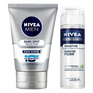 Buy Nivea Men Dark Spot Reduction Face Scrub + Free Men Sensitive Shaving Foam - Nykaa