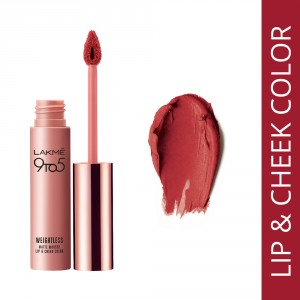 Buy Lakme 9 to 5 Weightless Matte Mousse Lip & Cheek Color - Crimson Silk - Nykaa