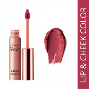 Buy Lakme 9 to 5 Weightless Matte Mousse Lip & Cheek Color - Plum Feather - Nykaa