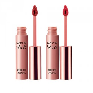 Buy Lakme 9 to 5 Weightless Matte Mousse Lip & Cheek Color - Pink Plush + Crimson Silk - Nykaa