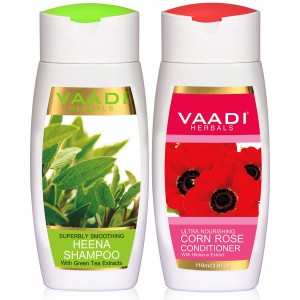 Buy Vaadi Herbals Superbly Smooothing Heena Shampoo With Corn Rose Conditioner - Nykaa