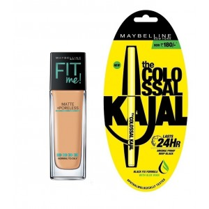 Buy Maybelline New York Fit Me Matte + Poreless Foundation - 322 Warm Honey + Free Colossal Kajal 24HR - Nykaa