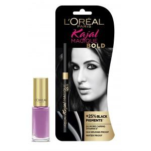 Buy L'Oreal Paris Kajal Magique Bold + Color Riche Vernis Lavender - Nykaa