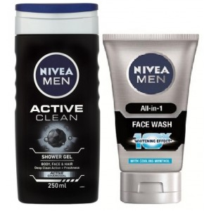 Buy Nivea Men Active Clean Shower Gel + Free Men All In One Face Wash - Nykaa