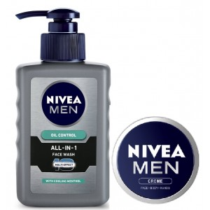 Buy Herbal Nivea Oil Control All In One Face Wash Pump + Free Men Wash + Care Cream - Nykaa