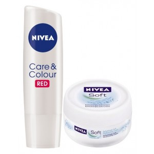 Buy Nivea Care & Color Lip Balm - Red + Free Soft Cream - Nykaa