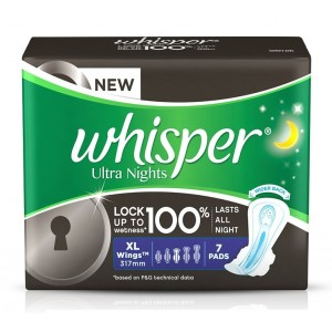Buy Whisper Ultra Overnight Sanitary Pads Xtra Large Wings Size 7 pc Pack  - Nykaa