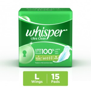 Buy Whisper Ultra Clean Sanitary Pads Large Wings 15 pc Pack - Nykaa