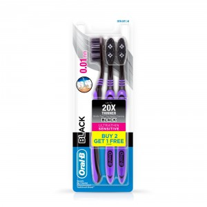 Buy Oral-B Ultrathin Sensitive Black Toothbrush Buy 2 Get 1 Free Extra Soft 40 - Nykaa