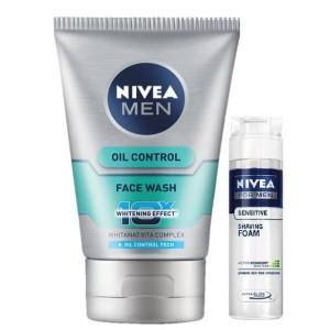 Buy Nivea Men Oil Control Face Wash + Free Men Sensitive Shaving Foam - Nykaa
