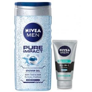 Buy Nivea For Men Pure Impact Shower Gel + Free All In One Face Wash - Nykaa