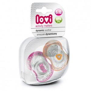Buy Lovi Dynamic Soother Silicone 6-18 Months (Spark) Pink & Orange - Nykaa