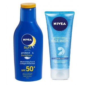 Buy Nivea Sun Lotion SPF 50 + Free Refreshing Face Wash - Nykaa