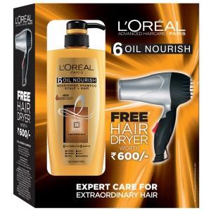 Buy L'Oreal Paris 6 Oil Nourish Shampoo + Free Hair Dryer - Nykaa