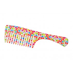 Buy FeatherFeel Printed Mini Hearts Handle Comb - Nykaa